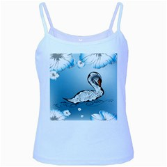 Wonderful Swan Made Of Floral Elements Baby Blue Spaghetti Tanks