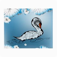 Wonderful Swan Made Of Floral Elements Small Glasses Cloth