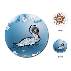 Wonderful Swan Made Of Floral Elements Playing Cards (Round)