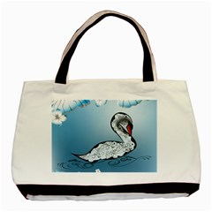 Wonderful Swan Made Of Floral Elements Basic Tote Bag
