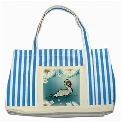 Wonderful Swan Made Of Floral Elements Striped Blue Tote Bag