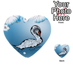 Wonderful Swan Made Of Floral Elements Multi-purpose Cards (Heart)