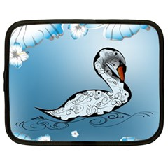 Wonderful Swan Made Of Floral Elements Netbook Case (XL)