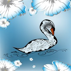 Wonderful Swan Made Of Floral Elements Magic Photo Cubes