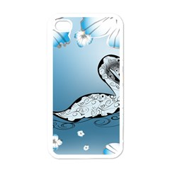 Wonderful Swan Made Of Floral Elements Apple iPhone 4 Case (White)