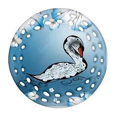 Wonderful Swan Made Of Floral Elements Round Filigree Ornament (2side)