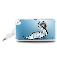 Wonderful Swan Made Of Floral Elements Portable Speaker (White)