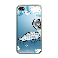 Wonderful Swan Made Of Floral Elements Apple iPhone 4 Case (Clear)