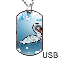 Wonderful Swan Made Of Floral Elements Dog Tag Usb Flash (two Sides)