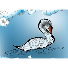 Wonderful Swan Made Of Floral Elements Birthday Cake 3D Greeting Card (7x5)