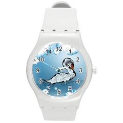Wonderful Swan Made Of Floral Elements Round Plastic Sport Watch (M)