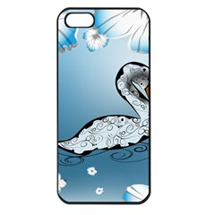 Wonderful Swan Made Of Floral Elements Apple iPhone 5 Seamless Case (Black)