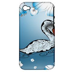 Wonderful Swan Made Of Floral Elements Apple iPhone 4/4S Hardshell Case (PC+Silicone)