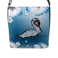 Wonderful Swan Made Of Floral Elements Flap Messenger Bag (L)