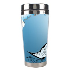 Wonderful Swan Made Of Floral Elements Stainless Steel Travel Tumblers