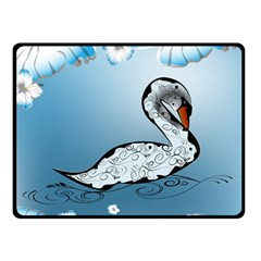 Wonderful Swan Made Of Floral Elements Double Sided Fleece Blanket (Small)