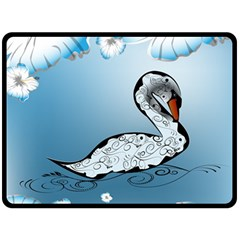 Wonderful Swan Made Of Floral Elements Double Sided Fleece Blanket (large)