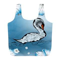 Wonderful Swan Made Of Floral Elements Full Print Recycle Bags (L)