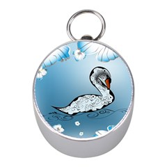 Wonderful Swan Made Of Floral Elements Mini Silver Compasses