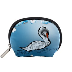 Wonderful Swan Made Of Floral Elements Accessory Pouches (Small)
