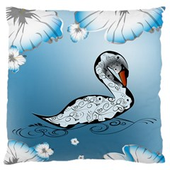 Wonderful Swan Made Of Floral Elements Large Flano Cushion Cases (Two Sides)