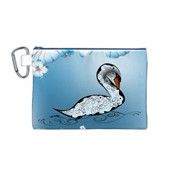 Wonderful Swan Made Of Floral Elements Canvas Cosmetic Bag (M)