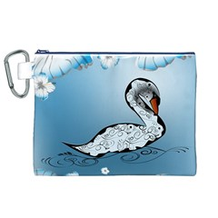 Wonderful Swan Made Of Floral Elements Canvas Cosmetic Bag (XL)