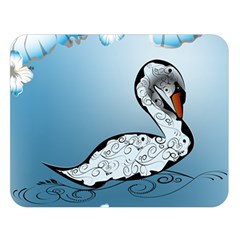 Wonderful Swan Made Of Floral Elements Double Sided Flano Blanket (Large)