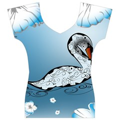 Wonderful Swan Made Of Floral Elements Women s V-Neck Cap Sleeve Top