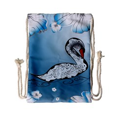 Wonderful Swan Made Of Floral Elements Drawstring Bag (Small)