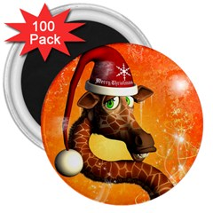 Funny Cute Christmas Giraffe With Christmas Hat 3  Magnets (100 pack)