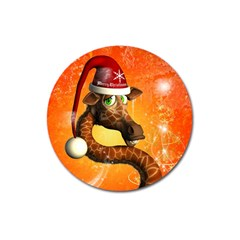 Funny Cute Christmas Giraffe With Christmas Hat Magnet 3  (round)