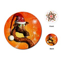 Funny Cute Christmas Giraffe With Christmas Hat Playing Cards (Round)