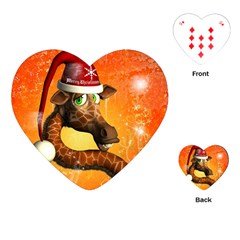Funny Cute Christmas Giraffe With Christmas Hat Playing Cards (Heart)