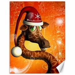 Funny Cute Christmas Giraffe With Christmas Hat Canvas 18  x 24