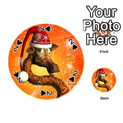 Funny Cute Christmas Giraffe With Christmas Hat Playing Cards 54 (round)
