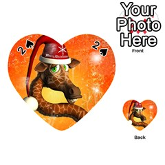 Funny Cute Christmas Giraffe With Christmas Hat Playing Cards 54 (Heart)