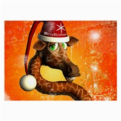 Funny Cute Christmas Giraffe With Christmas Hat Large Glasses Cloth