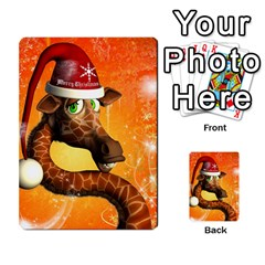 Funny Cute Christmas Giraffe With Christmas Hat Multi-purpose Cards (Rectangle)