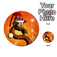 Funny Cute Christmas Giraffe With Christmas Hat Multi-purpose Cards (Round)