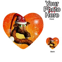 Funny Cute Christmas Giraffe With Christmas Hat Multi-purpose Cards (Heart)
