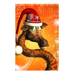 Funny Cute Christmas Giraffe With Christmas Hat Shower Curtain 48  X 72  (small)