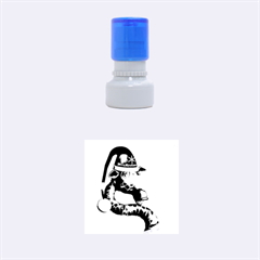 Funny Cute Christmas Giraffe With Christmas Hat Rubber Round Stamps (Small)