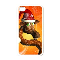 Funny Cute Christmas Giraffe With Christmas Hat Apple iPhone 4 Case (White)