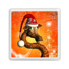 Funny Cute Christmas Giraffe With Christmas Hat Memory Card Reader (square)