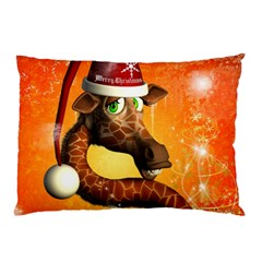 Funny Cute Christmas Giraffe With Christmas Hat Pillow Cases (Two Sides)
