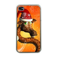 Funny Cute Christmas Giraffe With Christmas Hat Apple iPhone 4 Case (Clear)