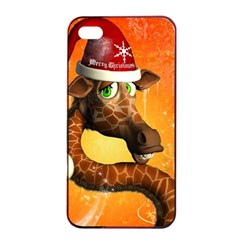 Funny Cute Christmas Giraffe With Christmas Hat Apple Iphone 4/4s Seamless Case (black)