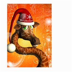 Funny Cute Christmas Giraffe With Christmas Hat Large Garden Flag (two Sides)