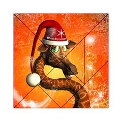Funny Cute Christmas Giraffe With Christmas Hat Acrylic Tangram Puzzle (6  x 6 )